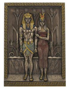 """12.5"""" Egyptian Pharaoh Menkaure & Queen Khamerernebty Wall Plaque Egypt Decor"""