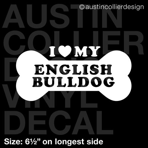 "dog breed rescue 6.5/"" ENGLISH BULLDOG vinyl decal car window laptop sticker"