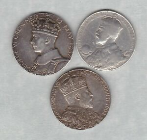 3-SILVER-COMMEMORATIVE-CORONATION-MEDALS-1902-1911-amp-1937-IN-A-USED-CONDITION