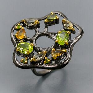Peridot Ring Silver 925 Sterling Handmade Size 7 /R135987