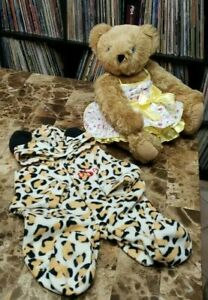 Authentic-Vermont-Jointed-Teddy-Bear-Handmade-in-Vermont-with-Sun-Dress-and-PJ-039-s
