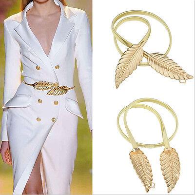 New Fashionable Women Metal Leaves Elastic Stretch Waist Belt Strap Cummerbund