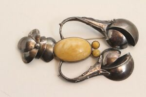 Schoene-grosse-Brosche-aus-Silber-925-mit-Bernsteinen-Hummer-Krebs-Handarbeit