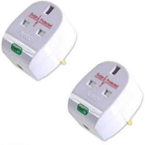 2-x-Anti-Spike-Surge-Protection-UK-Plug-Top-13-Amp-wireable-extension-plugs