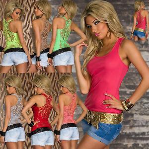 Women-Clubbing-Top-Ladies-Shirt-Sexy-Party-Lace-Tank-Shirt-Size-6-8-10-12-Blouse
