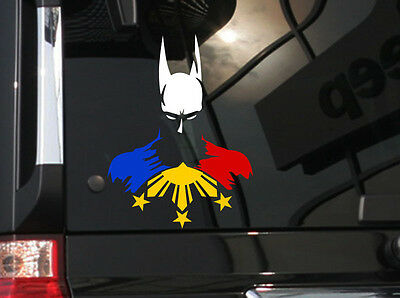 w// Hero Batman and  Philippine Flag H Filipino Vinyl Car Decal Sticker  6/""
