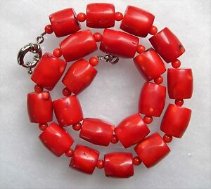 Hot-Vintage-Estate-Chunky-Red-Coral-Barrel-Bead-Necklace-18-Imperfections