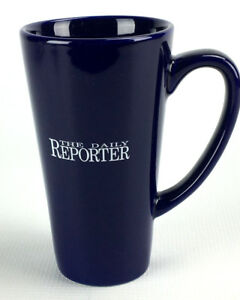 Image Is Loading Vintage The Daily Reporter Dark Blue Tall Ceramic