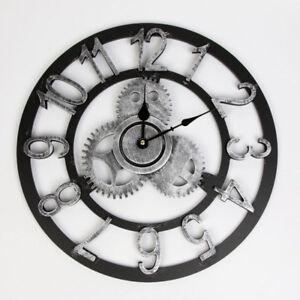 Détails Sur Vintage Horloge Rond Murale Bois Rouage Steampunk Industriel Rétro Style Maison