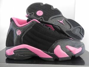 ee9de876f4a6 NIKE GIRLS AIR JORDAN 14 RETRO BLACK-PINK (GS) SZ 5Y-WOMENS SZ 6.5 ...