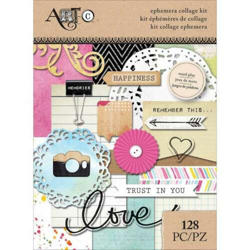 Art-C Ephemera Collage Pack 128//Pkg Word Play 760899250749