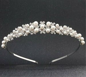 Women-Girl-Wedding-Crystal-Pearl-Hair-Band-Headband-Hoop-Tiara-Crown-headpiece