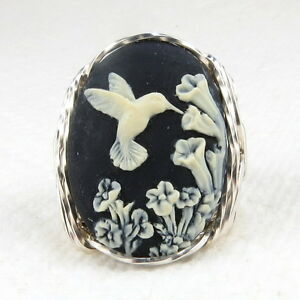 Hummingbird-Flower-Cameo-Ring-925-Sterling-Silver-Jewelry-Black-Resin-Any-Size