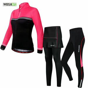 Women-Cycling-Sets-Long-Sleeve-Jersey-Pants-Skirts-Padded-Elastic-Bike-Trousers