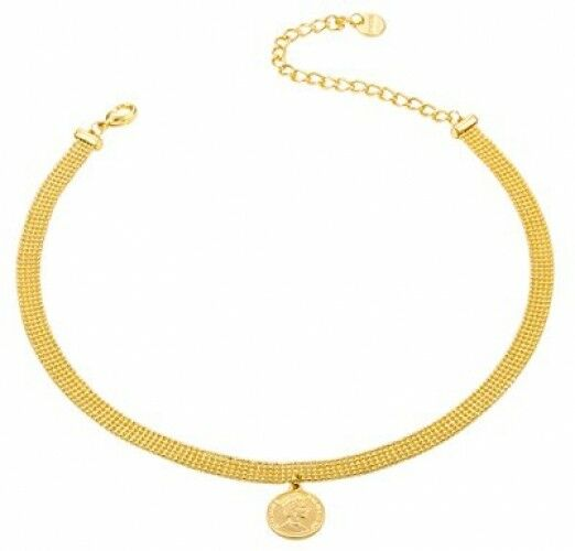 Coin Pendant Choker Metal Layered Bead With Insignia Coin 24K gold Plated For