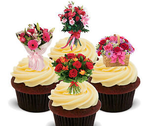 Image Is Loading Flowers Bouquet Edible Cup Cake Toppers Standup Decorations
