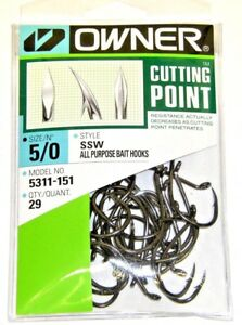 Details about OWNER HOOKS SSW ALL PURPOSE BAIT 5311-151 SZ 5/0 QTY 29  CUTTING POINT