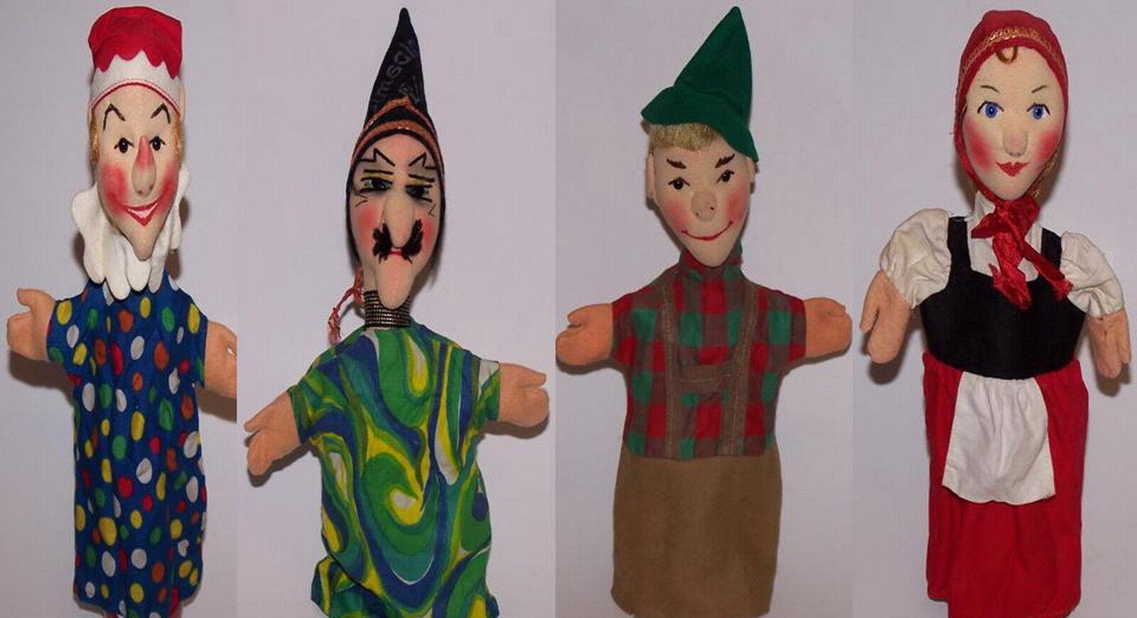 Kersa 4 Hand Puppets w/Tag Germany like Lenci Vintage