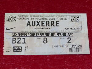 COLLECTION-SPORT-FOOTBALL-TICKET-PSG-AUXERRE-2001-Champ-France