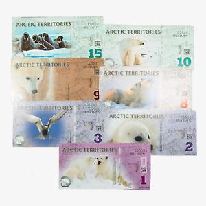 1 Set Of 7 Diff. Arctic Territoires Au-unc. Standard Émission Série Numéros Poly