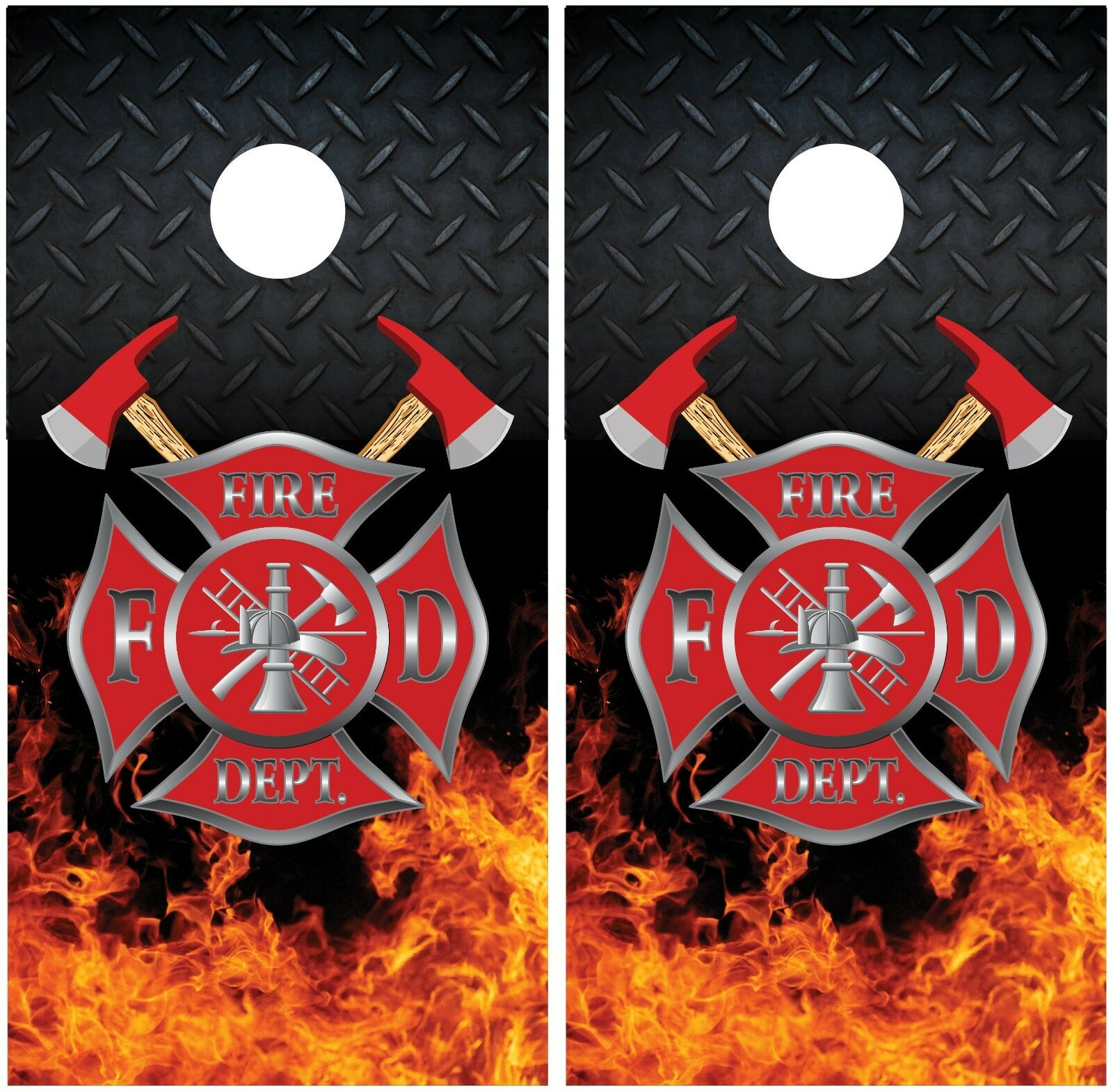 Firefighter  Fire Flames Diamond Plate Cornhole Board Decal Wrap Wraps  sale