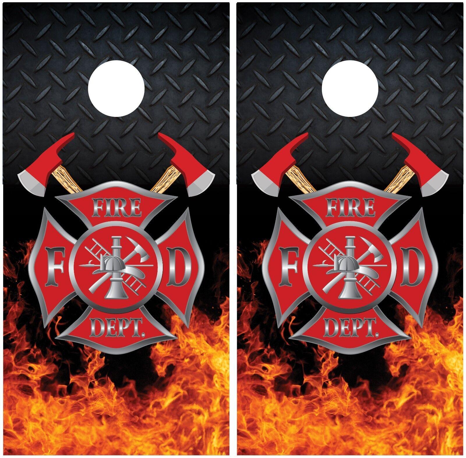 Firefighter Fire Flames Diamond Plate Cornhole Board Decal Wrap Wraps