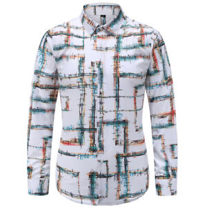 Men-Casual-Plaid-Business-Dress-Shirts-Long-Sleeve-T-shirt-Slim-Fashion-Tops-New