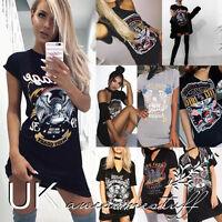 UK Womens Short Sleeve Black Dress Ladies Eagle Print T-Shirt Dress Size 6-14