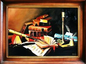 Painting-Literature-Picture-Frame-Handmade-Oil