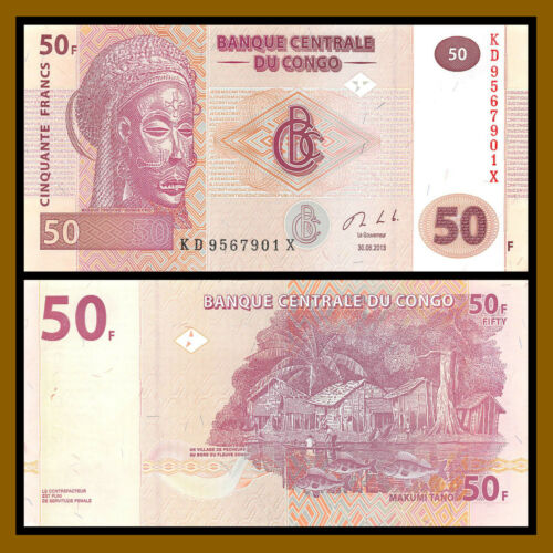 50 Francs x 100 Pieces Pcs Bundle D.R 2013 P-97 Unc Congo Democratic Republic