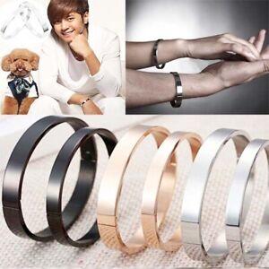 Titan-Stahl-Armband-Frauen-Maenner-Armband-Schmuck-Charm-Manschette-Armreif-GeXUI