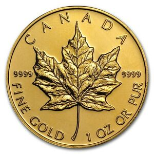 SPECIAL PRICE 1 oz Gold Canadian Maple Leaf Coin Random Year SKU 87709