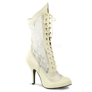 d98a03f8f84 Details about Cream Lace Up Off White Victorian Vintage Shabby Chic Bridal  Boots Wide Width