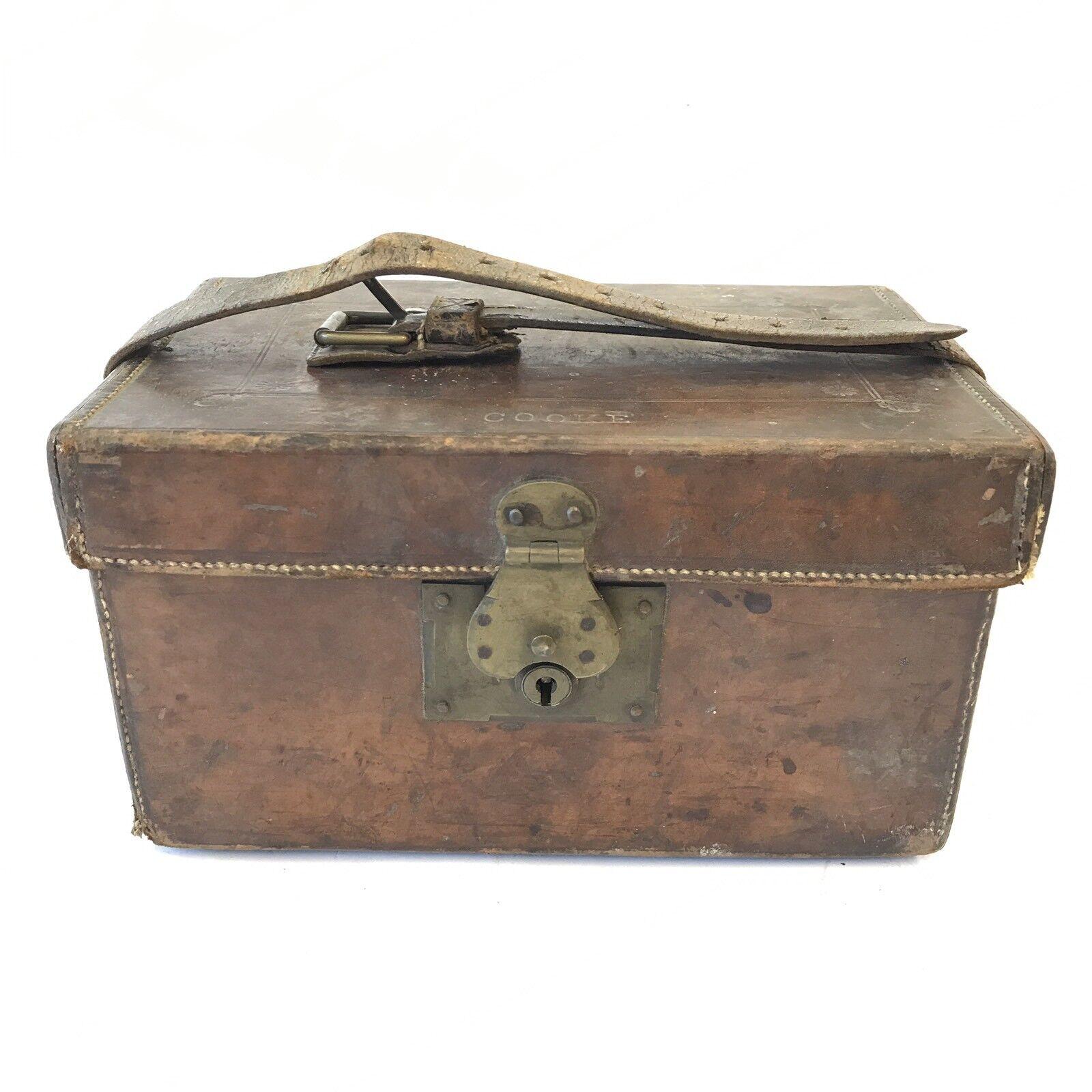 Antique Leather Ammunition   Cartridge Bag 25cm X 16.5cm X 14.5cm Good Patina