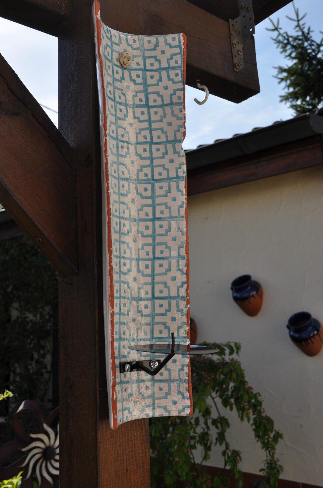 Candeleros muro barro cocido ethno wandkachel azul cerámica a mano, Pomax