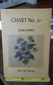 Vintage-rare-Babs-Fuhrmann-petit-point-chart-only-Sunflowers-no-64