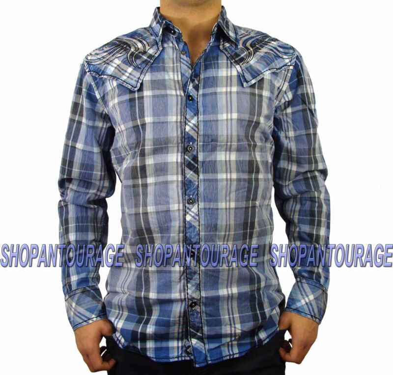 Roar Finesse W51711 New Men`s Blue/white Plaid Shirt