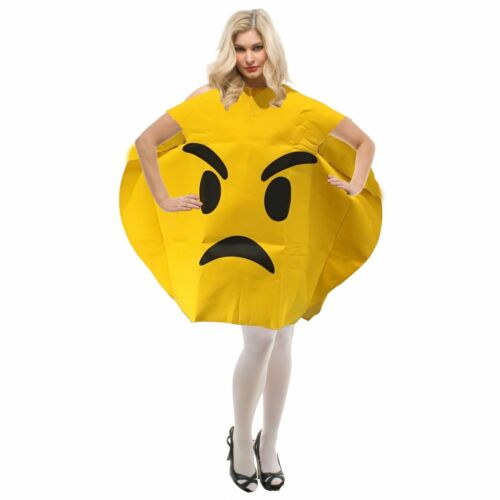 Emoji Adult Fancy Dress Costume Emoticon Angry Face One Size