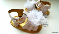 Baby girl White/Gold flower summer sandals crib shoes UK 0-6M/6-12M/12-18M NEW!