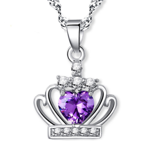 Solid-925-Silver-Crystal-Crown-Pendant-Necklace-Women-Fashion-Jewelry