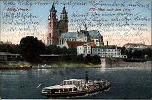 Magdeburg Sachsen-Anhalt ~1910 Elbe Blick auf Dom Kirche Schiff Dampfer gelaufen - Wöllstein, Deutschland - Magdeburg Sachsen-Anhalt ~1910 Elbe Blick auf Dom Kirche Schiff Dampfer gelaufen - Wöllstein, Deutschland