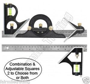 Metal Tri Square Sturdy Try Set Adjust Angle Slide Ruler Frame Combination 12/'/'