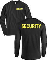 Security Front And Back Long Sleeve Shirt Huge Neon Yellow Letters Black -