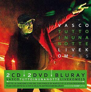 VASCO ROSSI - TUTTO IN UNA NOTTE LIVE KOM 2015 - 2CD+2DVD+ BR NUOVO SIGILLATO