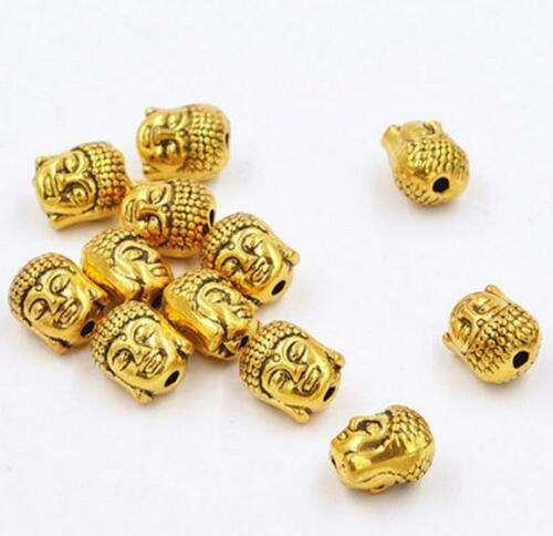 Free 10pcs Plaqué Or Bouddha Tête Spacer Beads Jewelry Making Accessoire 10x8mm