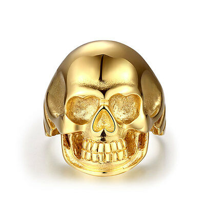Retro Cool 18 K Gold Filled Stainless Steel Gold Color Skull Ring Unisex Jewelry
