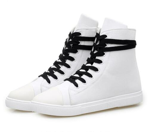 Men/'s Youth Lace Up Canvas Casual Shoes Round Toe England Style High Top Sneaker