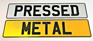 Pressed-Metal-Show-Plates-Pair-of-Plain-White-amp-Yellow