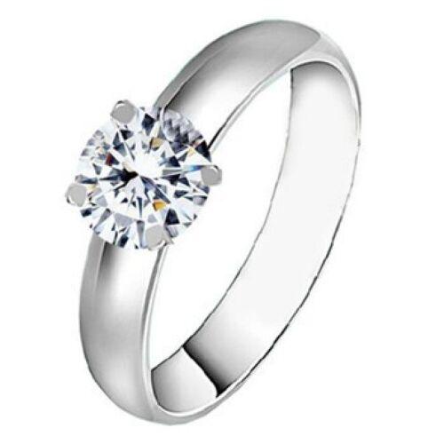 alianza elegante oro o plata-de colores boda Acero inoxidable anillo de compromiso cristal anillo