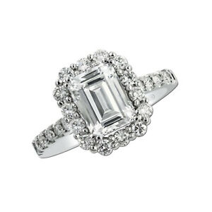 2.55 Ct Emerald Solitaire Moissanite Engagement Ring 14K Solid White Gold Size 4